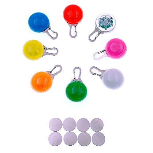 JZK 8 x Sicherheits Clip-On LED Blinklicht für Hunde + 8 x Ersatzbatterien, 3 Blinkmodis Leuchthalsband Schlüsselanhänger für Kinder, Hunde, Katzen, Läufer, Jogger, Walker, Camping