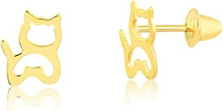 18k Hypoallergenic Solid Yellow Gold Cat Push Backs Stud Earrings for Girls, Children and Toddlers