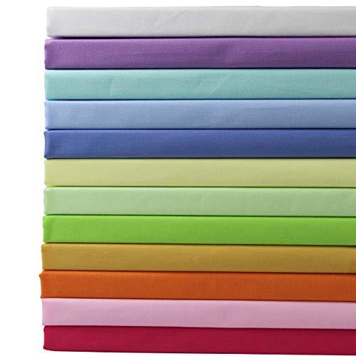 aufodara 12 Pezzi 50 x 45 cm Tessuti Tessuto Cotone Stoffa Patchwork Tinta Unita Bundle Tessuto Cucito Creativo DIY Fatto a Mano (50 x 45 cm, Multicolore)