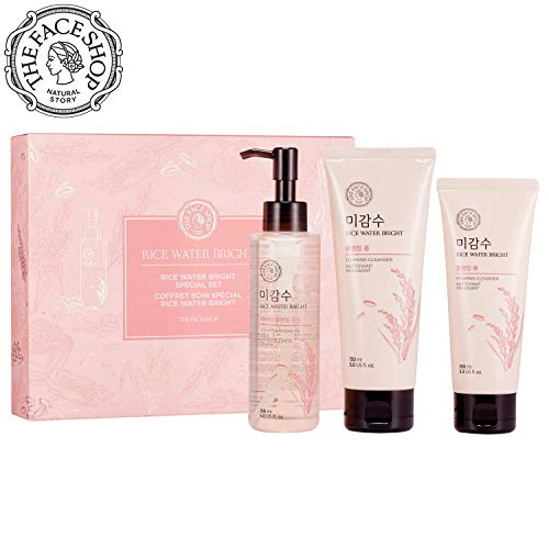 THE FACE SHOP Rice Water Bright Set - Cleanser 150Ml + Light Cleansing Oil 150Ml + Foam 100Ml, 20 g.