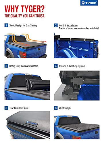 Tyger Auto T1 Soft Roll Up Truck Bed Tonneau Cover Compatible with 2009-2018 Dodge Ram 1500   2019-2022 Classic Only   Fleetside 5'7