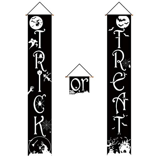 SAVITA 3 Stück Trick or Treat Halloween Fahne und Couplet Halloween Deko Banner für Halloween Party