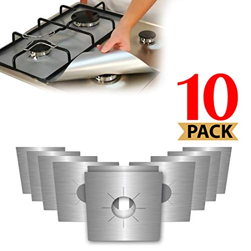 Stove Burner Covers, Reuseable Gas Range Protector Stove Top Liners With Double Thickness, Non-Stick, Easy To Clean (10-Pack)
