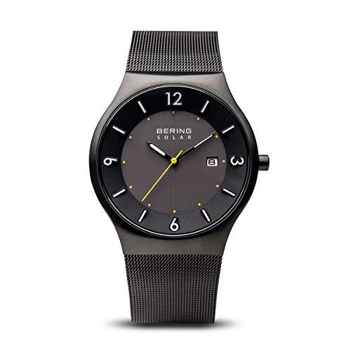 BERING Herren Analog Solar Uhr mit Edelstahl Armband 14440-223