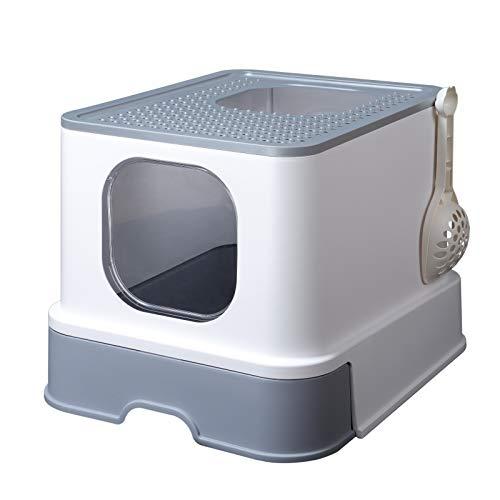 RIZZARI Top Entry Cat Litter Box,Enclosed Anti-Splashing Cat Litter Box with Litter Scoop