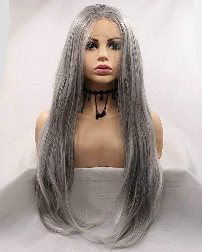 Drag Queen Pastel grijze Lace Front pruik dames Cosplay partij lijmloze Cap grijze pruik