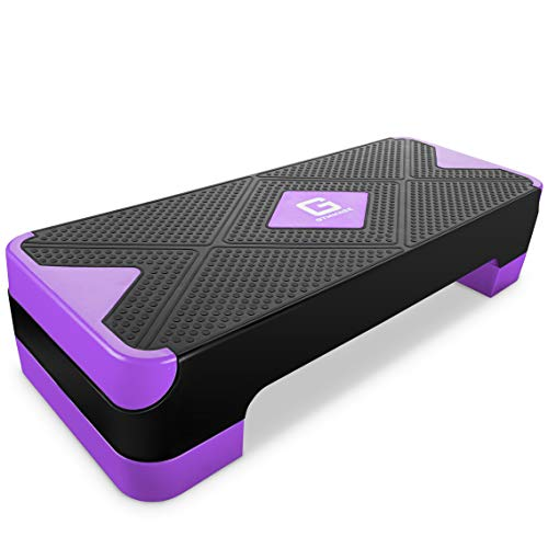 """GYMMAGE Adjustable Workout Aerobic Stepper, Aerobic Exercise Step Platform with 2 Risers, Exercise Step Deck for Fitness, 26.5"""" Trainer Stepper with Non-Slip Surface Home Gym & Extra Risers Options"""