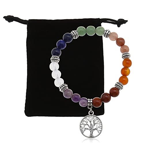 The Lord of the Tools - Pulsera de chakra de cristal con piedras naturales de 8 mm - Pulsera extensible para yoga y meditación