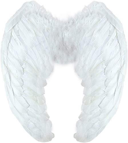 Volwassen witte engelenvleugels - synthetische veren - halloween - kerstmis - maat 60 x 42 cm - carnaval - halloween - kerstmis - cadeau-idee