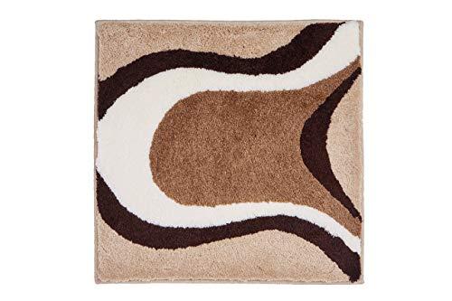 Grund COLANI Exklusiver Designer Badteppich 100% Polyacryl, ultra soft, rutschfest, ÖKO-TEX-zertifiziert, 5 Jahre Garantie, Colani 11, WC-Vorlage o.A. 60x60 cm, beige