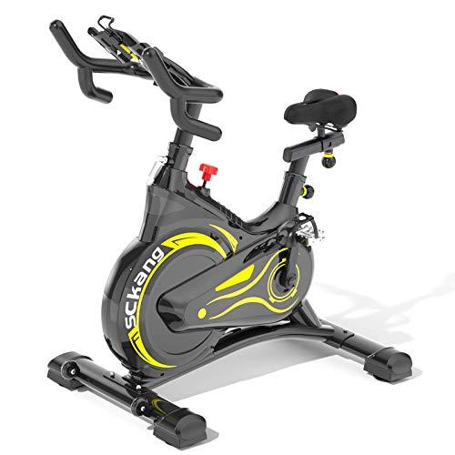 Sckang マグネット式 フィットネスバイク スピンバイク フルカバーホイール 心拍センサー付き 無音設計メー...