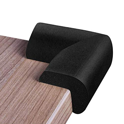Foam Corner Protectors   8-Pack Foam Caring Corner Guards by The Hamptons Baby   Safety Furniture Bumpers   Long Lasting, Pre-Applied Adhesive   Sharp Corner Cushions (Black)