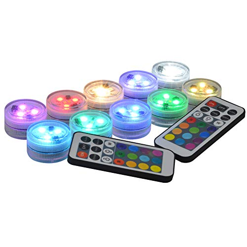 10 Pack Small Submersible LED Lights with Remote, Battery Operated Color Changing LED Tealight Waterproof Underwater LED Lights for Pool Fountain Pond Vase Party Wedding Centerpieces Decoration