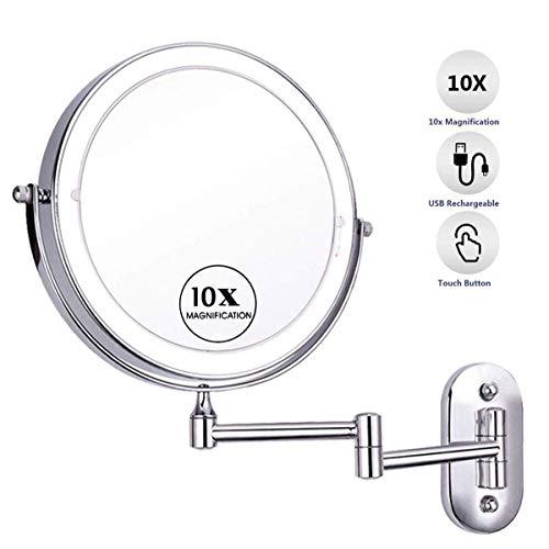 SGSG LED-Schminkspiegel 8 Zoll mit 10-facher Vergrößerung Doppelseitige, berührungsdimmende Badezimmerspiegel Wandmontage 360 Grad;Schwenkbare ausziehbare Faltung für wiederaufladbares Hotel V
