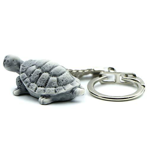 Llavero con diseño de tortuga, divertido llavero 3D para hombre y mujer, hecho de arena de mármol con resina, bonito accesorio regalo para aniversario (TURTLE-2)
