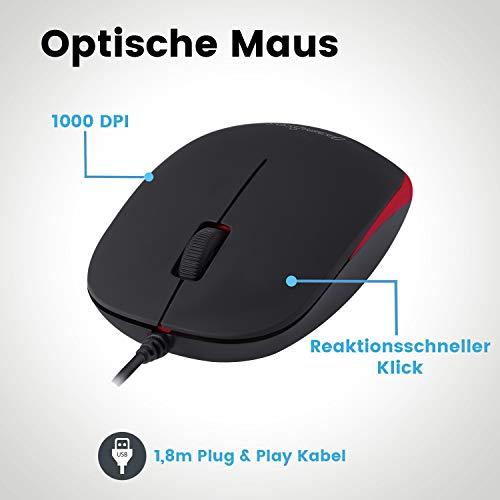 Perixx PERIDUO-212 DE, Mini Tastatur und Maus Set, USB-Kabel, schwarz, Set Kabelgebunden - Schwarz/Rot, 11484