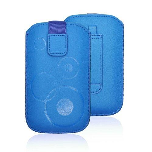 Handytasche Circle passend für HTC Desire 310 Handy Tasche Schutz Hülle Slim Case Cover Etui blau mit Klettverschluss