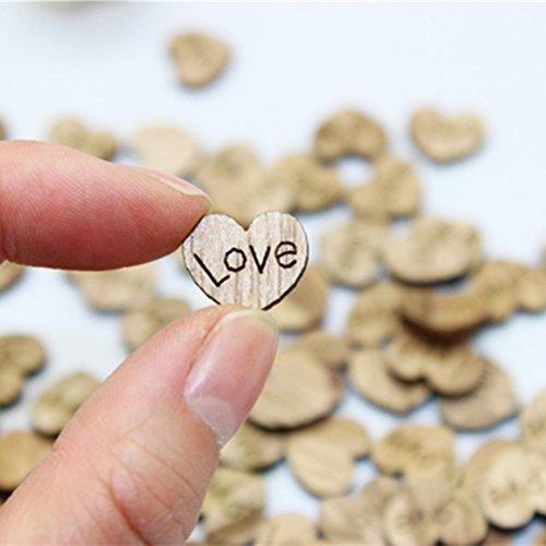 Rosenice Lot de 100 d'amour Cœur Mini pièces en bois pour peinture Craft Mariage Décorations
