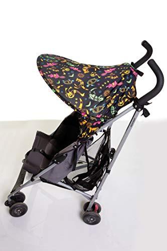 Dreambaby F282 Extenda-Shade® Kinderwagen Sonnenschutz Sonnenverdeck Sonnendach universal mittelgroß mit Seitenschutz (Tiermotive), schwarz