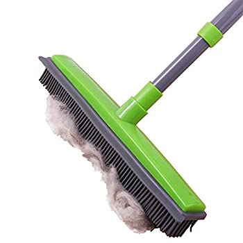 Pet Hair Removal Rubber Broom with Squeegee,Soft Push Broom,Pole 59   ,Carpet Sweeper Adjustable Long Handle Removal Pet Human Hair,Green