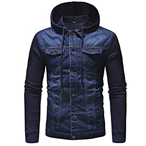 Men's Sports Jacket Slim Fitting Long Sleeve Hooded Denim Jacket Jeans Coat