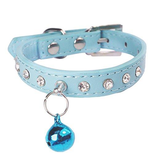 Collare per gatto con diamante per piccoli cuccioli di cane con fibbia e campanella blu