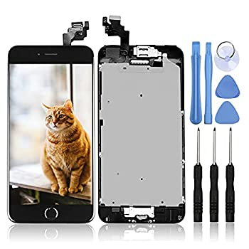 Ayake for iPhone 6 Plus Digitizer Screen Replacement Black 5.5   Full LCD Display Assembly with Home Button Front Facing Camera Earpiece Speaker Pre Assembled and Repair Tool Kits