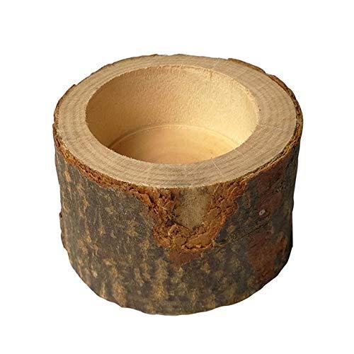 ADSIKOOJF Creatieve Schors Stake Kaars Houder Plant Pot Handgemaakte Houten Ornamenten Pijler Ontwerp Kandelaar voor Rustieke Bruiloft Decoratie