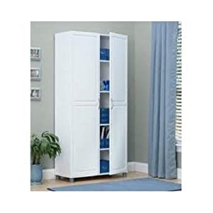 White 36 Inch 2 Door Storage Cabinet Kitchen Pantry Laundry Room Cupboard Armoire Order Bagusl