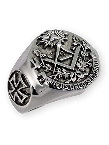 Fly Style Freimaurer Siegelring aus Edelstahl für Herren, Ring Grösse:20.0 mm