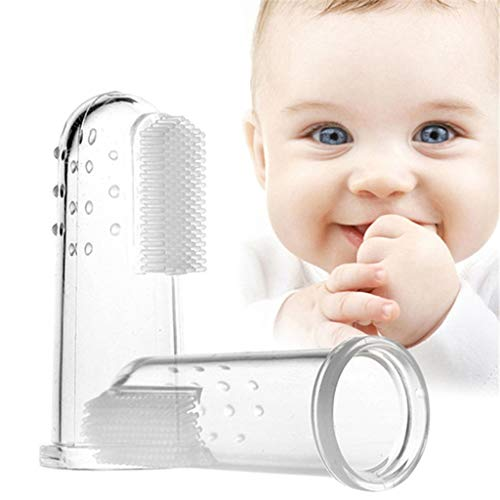 ☀ Dergo ☀ Baby Toothbrush ,10PC Infant Baby Finger Toothbrush Teeth Clear Soft Silicone Tooth Brush Rubber