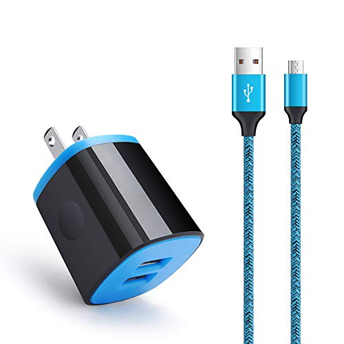 Android Charger Fast Charging Micro USB Cable, 6FT Nylon Micro Cord Wall Charger Block, AbcPow 2.1A Power Adapter with Phone Cord Compatible for Samsung Galaxy S7 S6 J7 J3 Note 5, LG G4 Motorola, HTC