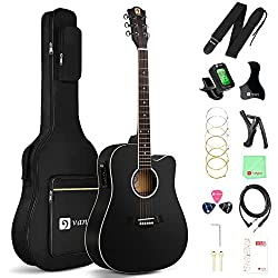 "Best Acoustic Electric Guitar under 200 US Dollars - Vangoa - 41"" Full-Size Black VG-41ECBK Acoustic Electric Cutaway Guitar"