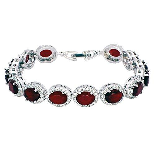 Hermosa Oval Ladies Tennis Bracelet Sapphire Ruby Emerald White Topaz Silver 7 inch (Ruby)