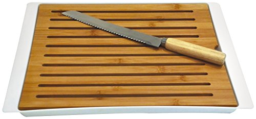 Totally Addict ka1630 Tabla de Pan con Cuchillo Madera Blanco/Negro 38 x 27 x 1,9 cm - Color Aleatorio
