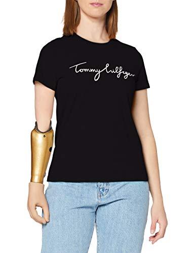 Tommy Hilfiger Heritage Crew Neck Graphic Tee Camiseta, Schwarz (Masters Black 017), Large Para Mujer