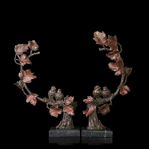 MOGANA Ornamenten Voor Woonkamer Sculptuur Standbeeld Decoratie Bloemen En Vogels Koper Ambachten Foyer Woonkamer Decoraties Verhuizing Nieuwe Bruiloft Goederen Dubbele Koper Ambachten
