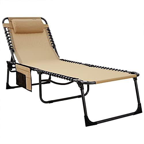 KingCamp Adjustable 4-Position Beach Folding Chaise Lounge Chair