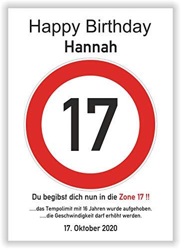 Unbekannt Verkehrsschild - Bild - 17. Geburtstag - Wunschname - personalisiertes Geschenk - Kunstdruck - Geschenkidee