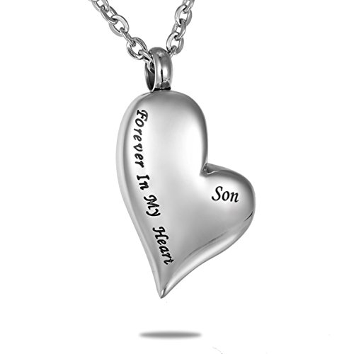 HooAMI 手元供養 メモリアルペンダント 防水中空 ハートペンダント ネックレス ステンレス 遺骨ペンダント Forever In My Heart Son