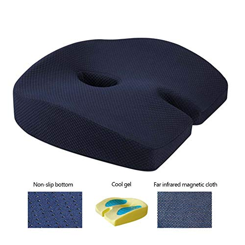 Gel Enhanced Seat Cushion Coccyx Chair Cushion For Sciatica Hemorrhoid Tailbone Back Pain Relief - Memory Foam Ergonomic Support Cushion For Office Chair,Wheelchair,Car Seat,Navy blue