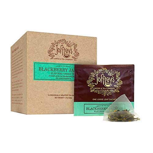 Joffrey's Coffee - Blackberry Jasmine Tea, Green Tea, Flavored Tea, Hints of Sweet Blackberry & Jasmine Flavor, Contains Caffeine, Hand-Blended Tea, Kosher (16 Individual Tea Sachets, 1.7 oz Box)