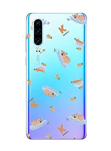 Oihxse Compatible pour Huawei Nova 4 Coque Ultra Fine Transparente TPU Silicone Doux Protection Housse Motif/Exact Fit/Souple pour Huawei Nova 4(Paresse A7)