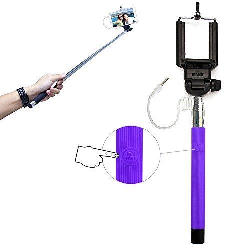 Xtra-Funky Esclusivo pulsante universale gestito bastone Selfie monopiede con morsetto regolabile e palo estensibile per Samsung, iPhone, Sony - Porpora