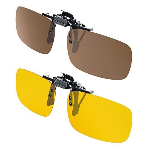 Clip-on Sunglasses Splaks Unisex Polarized Frameless Rectangle Lens 2PACK