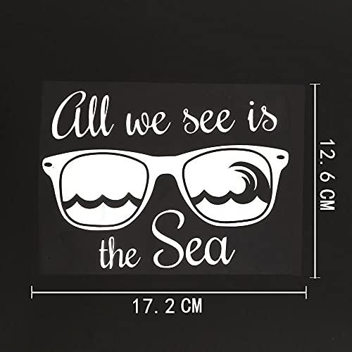 JKGHK Pegatinas de coche 2 unids gafas de sol verano decoración mar playa etiqueta engomada vinilo coche negro plata 17,2 cm × 12,6 cm