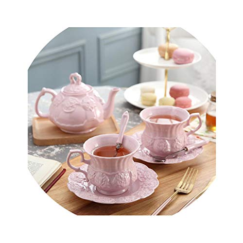 Amanda HoratioCoffee - Juego de tazas con cuchara y tetera (cerámica), diseño de flores, color rosa Juego de 3 piezas.