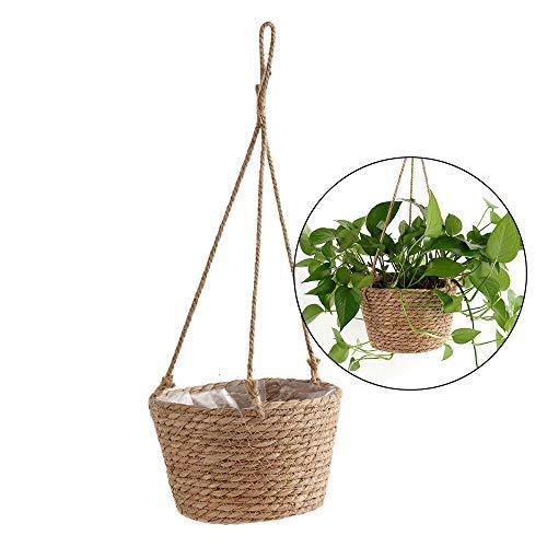SANGDA - Maceta colgante de paja con cuerda de yute, cesta plegable de macramé para flores, plantas, decoración de interiores y exteriores