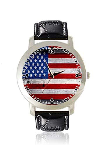 American Flag Herren-Armbanduhr dünn, dünn, minimalistisch, modisch, wasserdicht, analog, Lederarmband, Geschenk