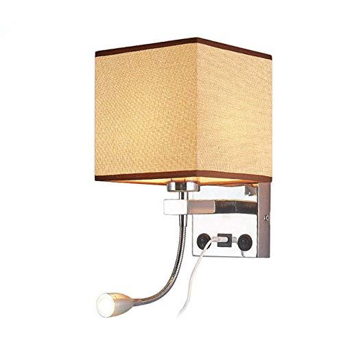 Wandlampen, wandlampen, wandlampen, wandlampen, LED-wandlampen, voor binnen, moderne kop, plafondlamp, wandlamp, met schakelaar en lamp USB E27